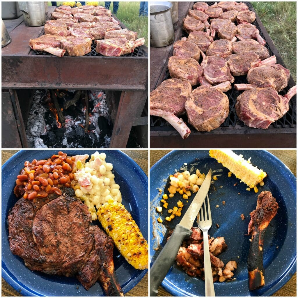 Tomahawk steaks cooked chuckwagon-style on the Kansas prairie