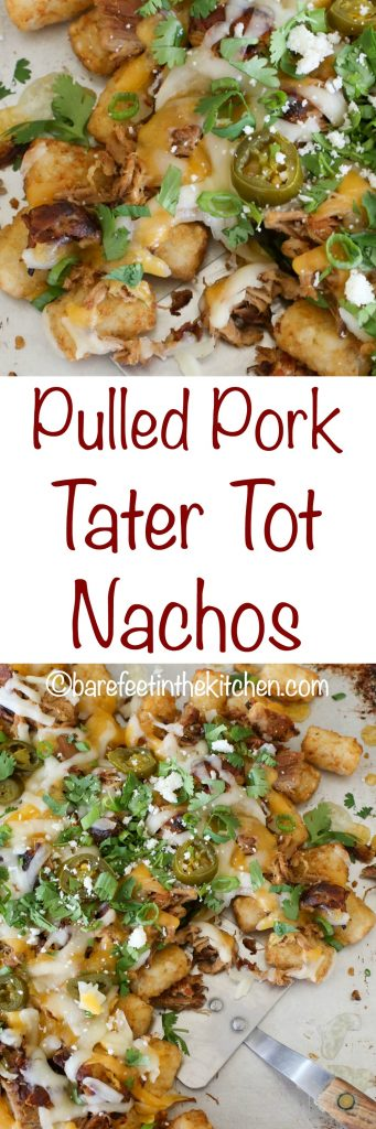 Pulled Pork Tater Tot Nachos - crispy pork, fluffy tater tots, and plenty of cheese! - get the recipe at barefeetinthekitchen.com
