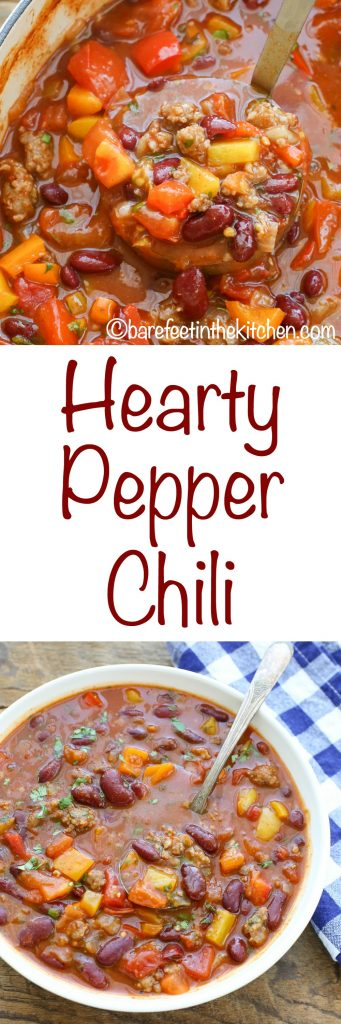 Hearty Pepper Chili is filled with fresh vegetables, sausage, and beans to make this quick and easy dinner that everyone loves! get the recipe at barefeetinthekitchen.com