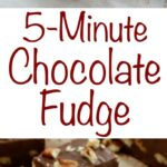 5 Minute Chocolate Pecan Fudge is perfect for dessert tables or for gifting throughout the year. Get the recipe at barefeetinthekitchen.com
