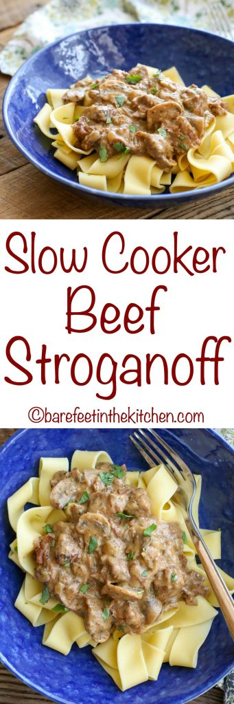 Slow Cooker Beef Stroganoff is a hearty dinner that gets two thumbs up from everyone!