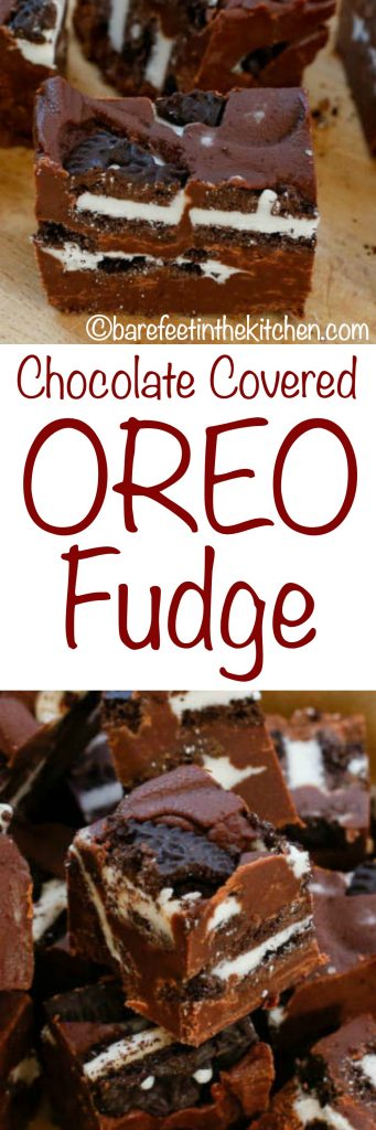 Chocolate Covered Oreo Fudge is wonderfully snackable! get the recipe at barefeetinthekitchen.com