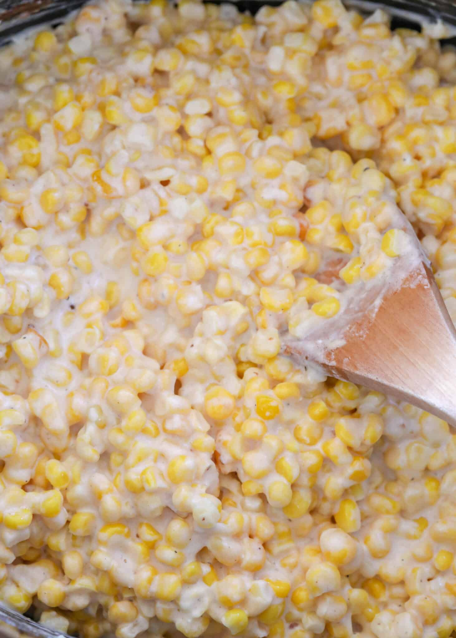 Slow Cooker Creamed Corn tastes even better than Rudy's BBQ creamed corn!