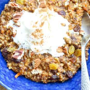 Carrot Cake Oatmeal - get the recipe at barefeetinthekitchen.com