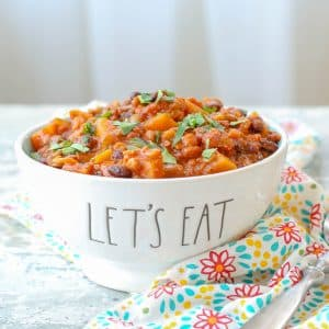 Chorizo Lentil Stew with Butternut Squash - get the recipe at barefeetinthekitchen.com