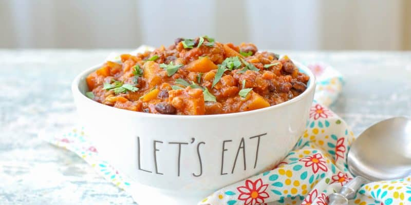 Chorizo Lentil Stew with Butternut Squash - get the recipe at barefeetinthekitchen.com