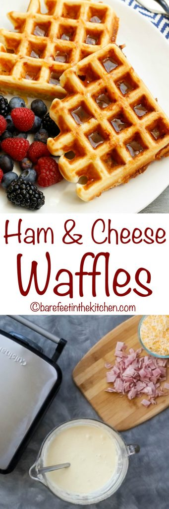 Ham and Cheese Waffles are perfect for on-the-go breakfasts as well as lazy weekend mornings! get the recipe at barefeetinthekitchen.com