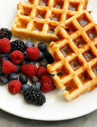Ham and Cheese Waffles are a sweet and savory breakfast that the whole family will love! get the recipe at barefeetinthekitchen.com