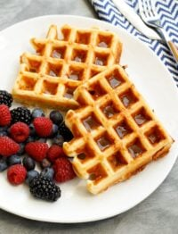 Ham and Cheese Waffles are a sweet and savory breakfast that everyone loves! get the recipe at barefeetinthekitchen.com