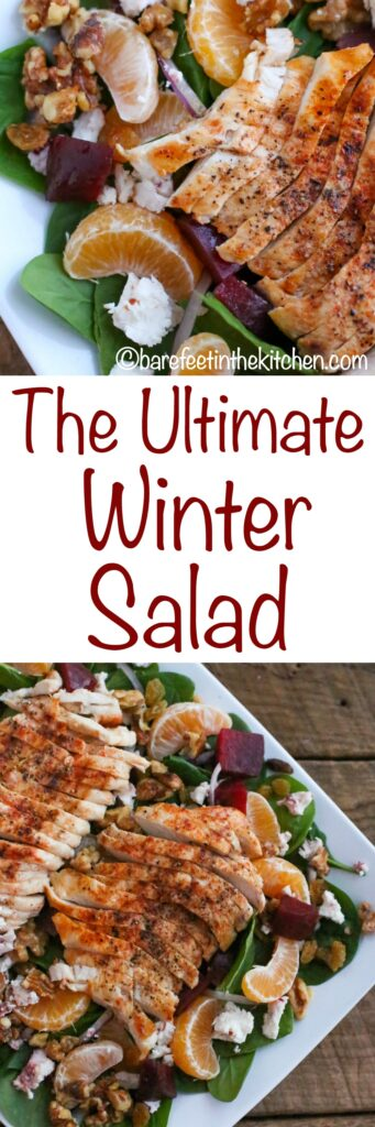 The Ultimate Winter Salad is filled with baby spinach, tender grilled chicken, sweet orange slices, earthy beets, slivers of red onion, crunchy walnuts, creamy goat cheese, and sweet raisins tossed with a sweet and tangy white balsamic vinaigrette. Get the recipe at barefeetinthekitchen.com