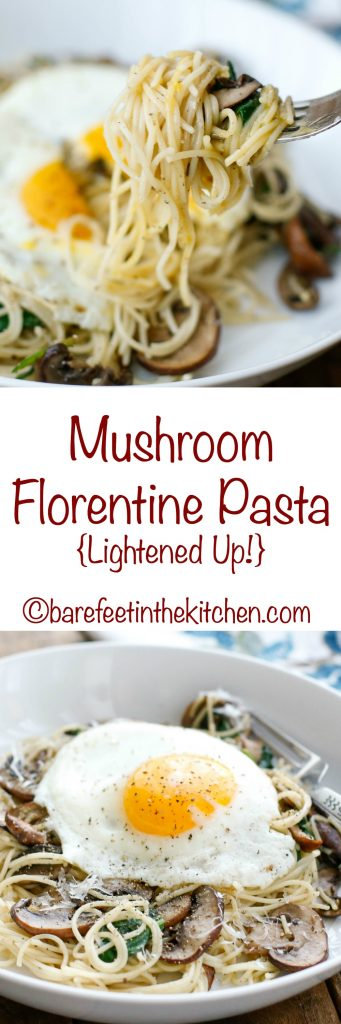 Lightened Up Mushroom Florentine Pasta will satisfy your cravings without any of the guilt! Get the recipe at barefeetinthekitchen.com