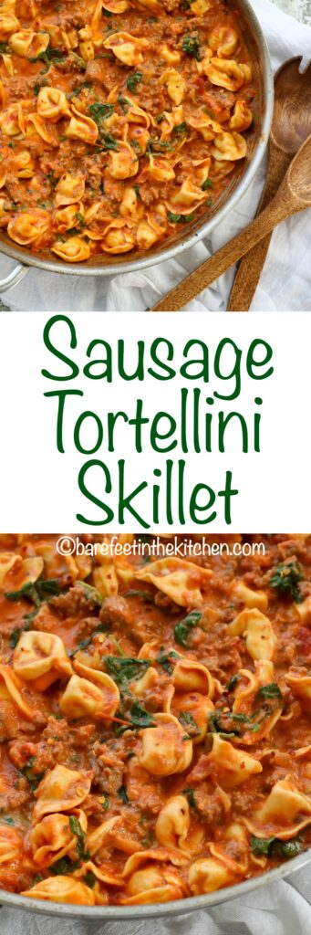 Sausage, Tortellini, and Spinach in a Creamy Tomato Sauce is a fantastic 20-minute dinner plan! get the recipe at barefeetinthekitchen.com