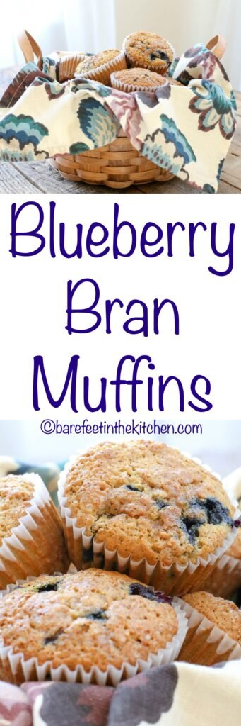 Light and fluffy bran muffins filled with fresh blueberries and sprinkled with crunchy sugar! get the recipe at barefeetinthekitchen.com