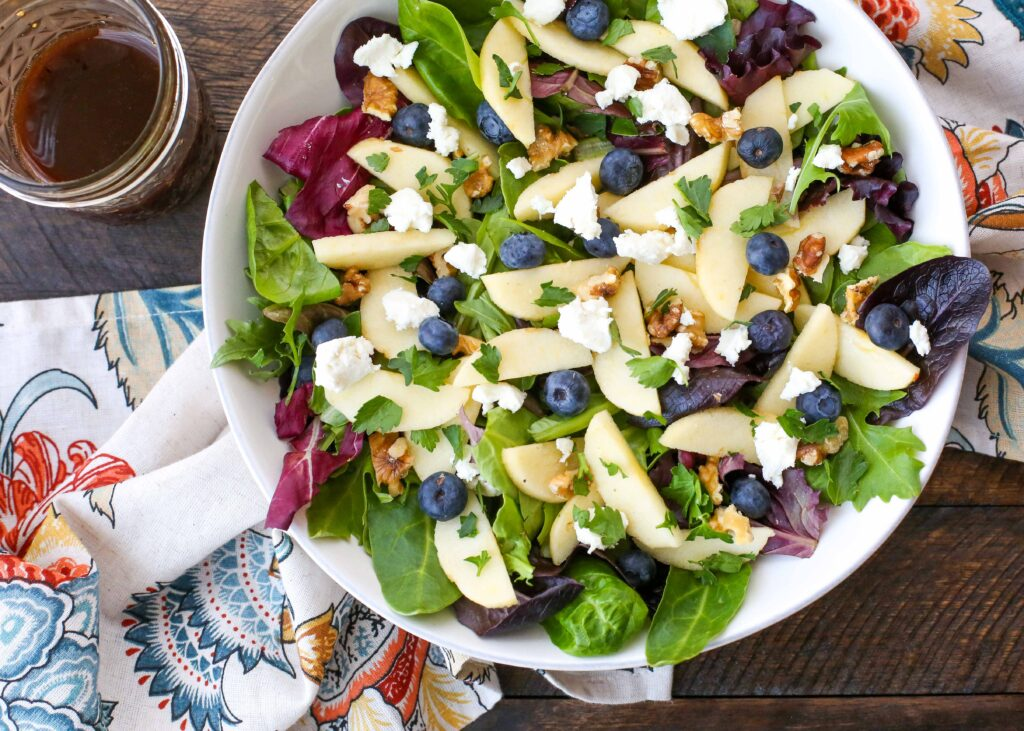 Blueberry Apple Walnut Salad with Goat Cheese and Honey Vinaigrette