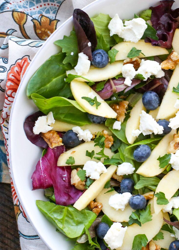 Blueberry Apple Walnut Salad with Goat Cheese