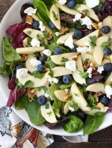 Blueberry Apple Walnut Salad is a sweet, crunchy, side dish for any meal!