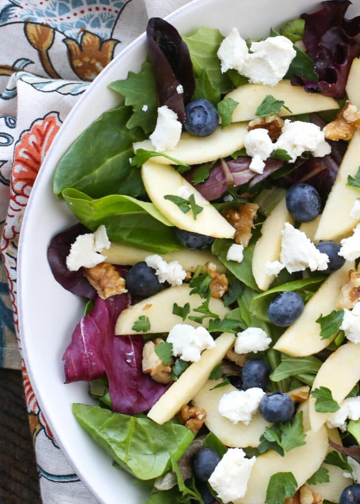Blueberry Apple Walnut Salad with Honey Balsamic Vinaigrette