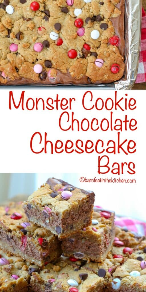 Monster Cookie Chocolate Cheesecake Bars are a crunchy, chewy, creamy sweet treat!