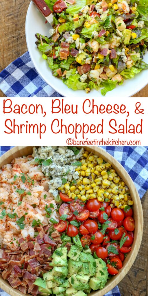 You're going to love this Bacon, Bleu Cheese, and Shrimp Chopped Salad - get the recipe at barefeetinthekitchen.com