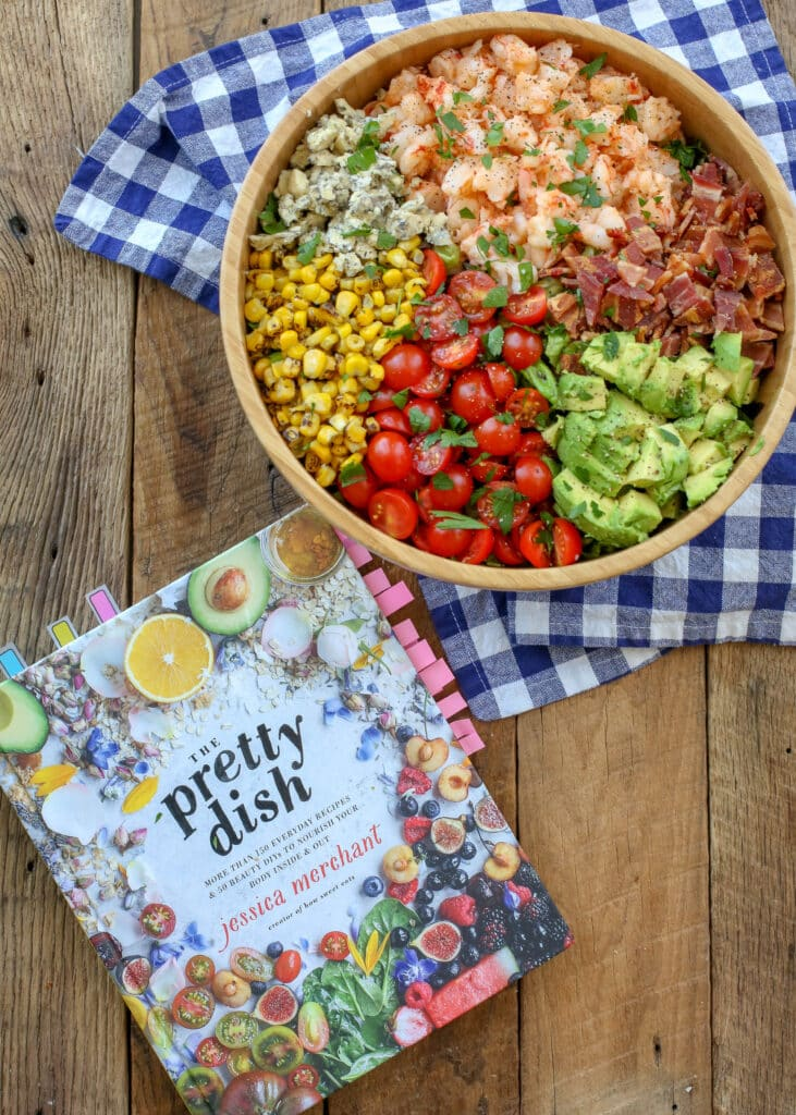 Ready in just 20 minutes, you're going to love this Bacon, Bleu Cheese, and Shrimp Chopped Salad from The Pretty Dish cookbook - get the recipe at barefeetinthekitchen.com