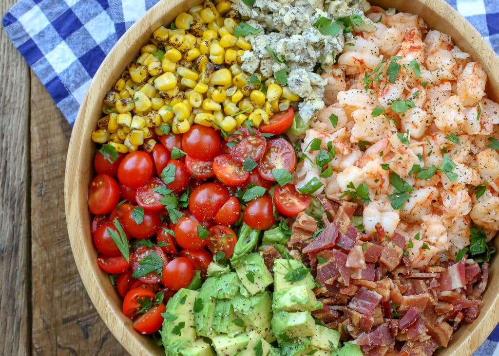 Bacon, Bleu Cheese, and Shrimp Chopped Salad from The Pretty Dish cookbook - get the recipe at barefeetinthekitchen.com