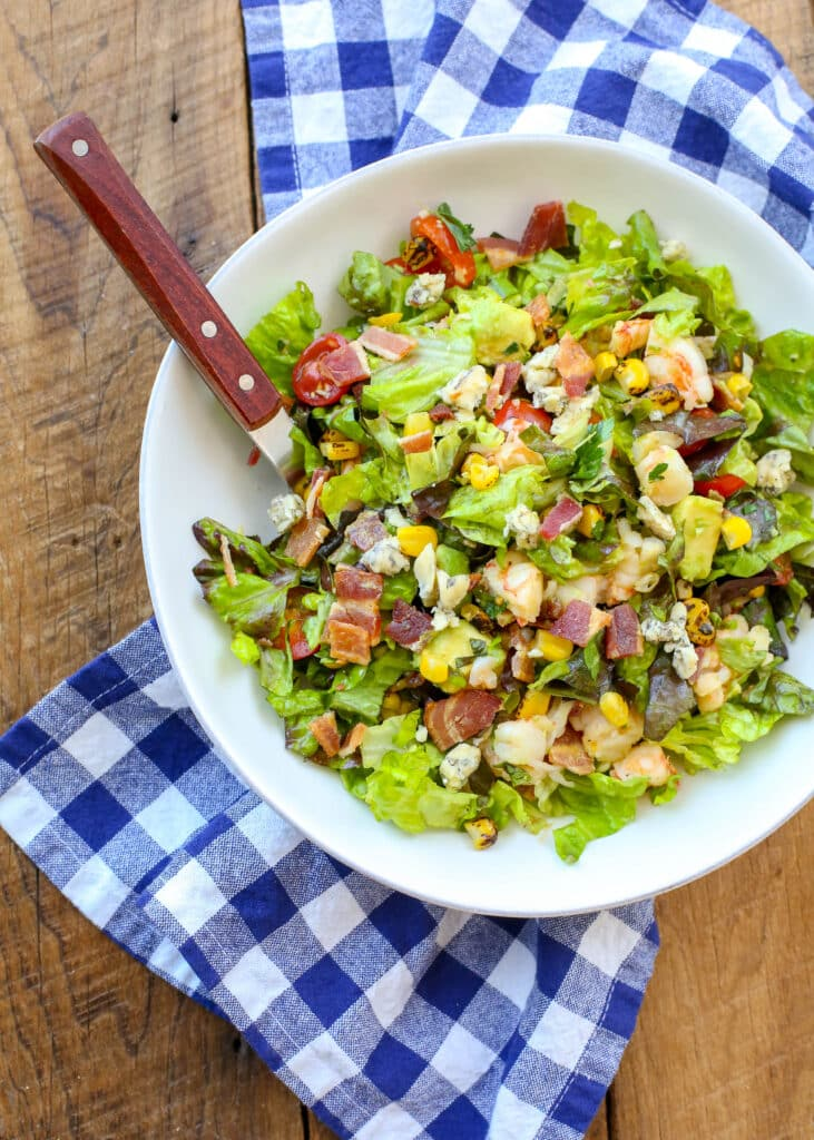 Bacon, Bleu Cheese, and Shrimp Chopped Salad - get the recipe at barefeetinthekitchen.com