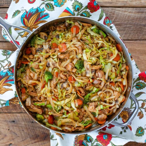 Stir Fry Noodles With Chicken And Vegetables Barefeet In The Kitchen