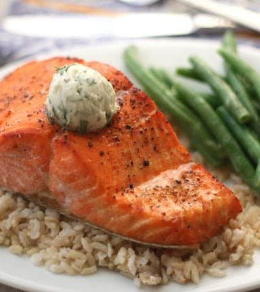 Broiled Salmon with Peppery Dill Compound Butter