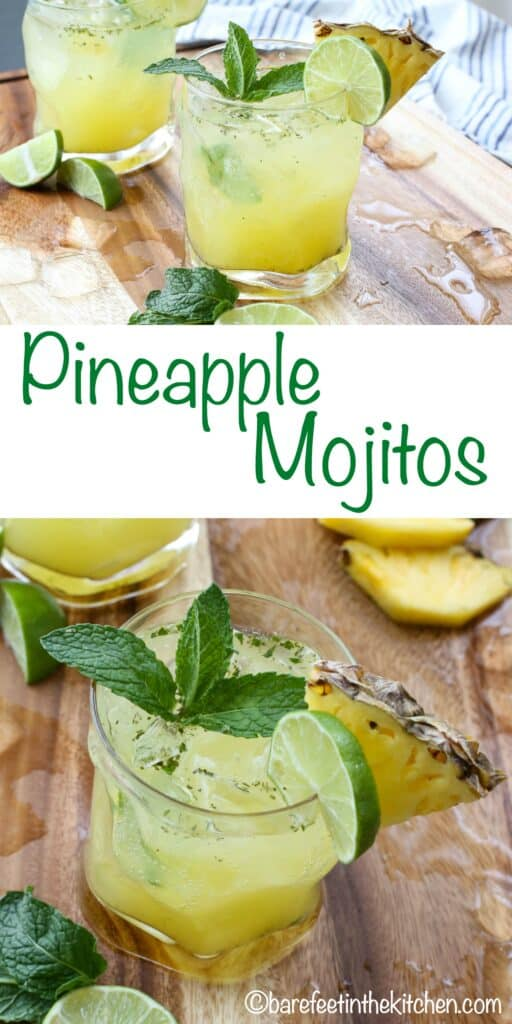 Pineapple Mojitos are a summer favorite! Made with plenty of fresh mint and lime, this is a refreshing cocktail that everyone loves. Get the recipe at barefeetinthekitchen.com