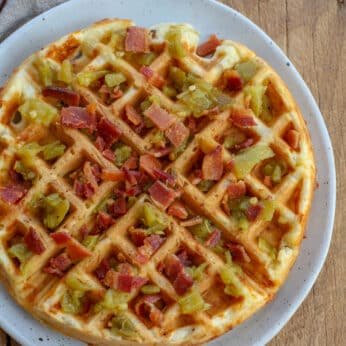 Cheddar Bacon Green Chile Waffles