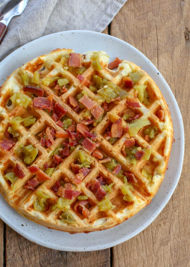 Cheddar Bacon Green Chile Waffles - get the recipe at barefeetinthekitchen.com