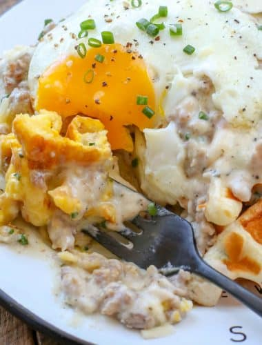 Cheddar Chive Waffles with the Best Ever Sausage Gravy! get the recipe at barefeetinthekitchen.com