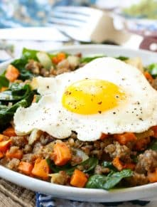 Roasted Sweet Potato Hash is a hit for breakfast or for dinner! get the recipe at barefeetinthekitchen.com