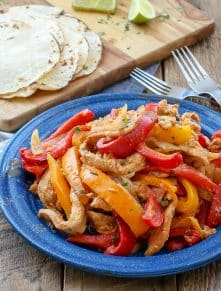 Slow Cooked Chicken Fajitas - get the recipe at barefeetinthekitchen.com