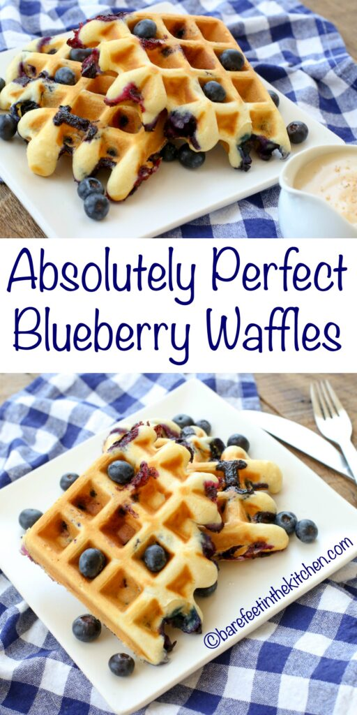 Blueberry Waffles with Vanilla Waffle Sauce is a breakfast that NO ONE can resist! get the recipe at barefeetinthekitchen.com