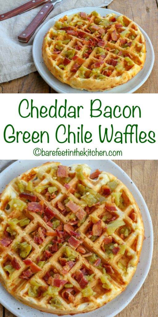 Cheddar Bacon Green Chile Waffles are awesome hand-held or drizzled with syrup. Get the recipe at barefeetinthekitchen.com