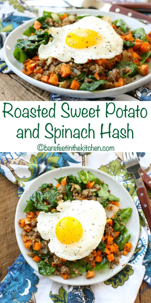 Roasted Sweet Potato and Spinach Breakfast Hash - get the recipe at barefeetinthekitchen.com
