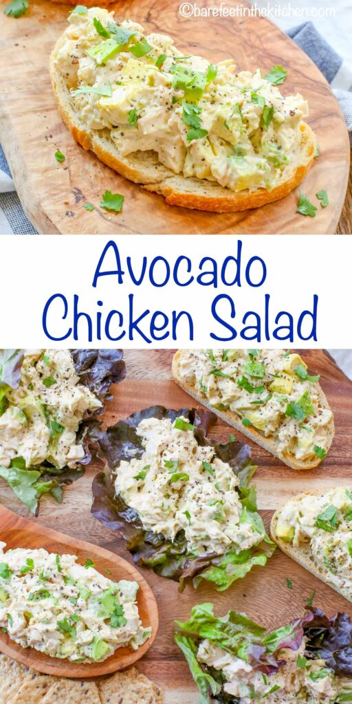 Avocado Chicken Salad served on toast, with crackers, or in lettuce cups