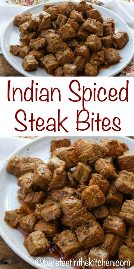 Indian Spiced Steak Bites are a quick and easy dinner that everyone enjoys! get the recipe at barefeetinthekitchen.com