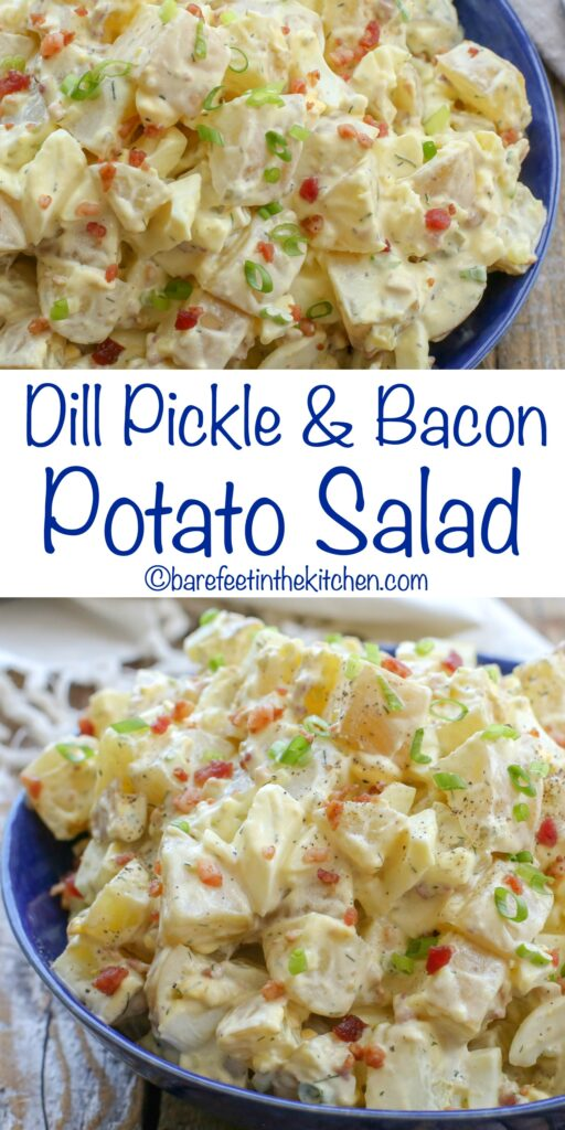 You're going to love this Dill Pickle and Bacon Potato Salad - get the recipe at barefeetinthekitchen.com