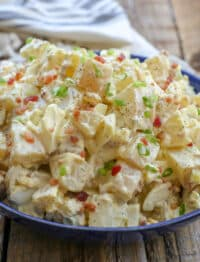 Dill Pickle and Bacon Potato Salad is a guaranteed win! get the recipe at barefeetinthekitchen.com