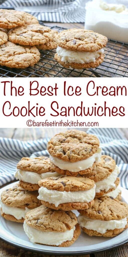 The BEST Ice Cream Sandwiches start with a perfectly chewy cookie! get the recipe at barefeetinthekitchen.com
