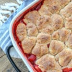 Strawberry Cobbler is a HIT for all your summer parties - get the recipe at barefeetinthekitchen.com