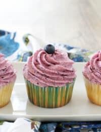 Fresh Blueberry Frosting is a dream come true for any berry lover! get the recipe at barefeetinthekitchen.com