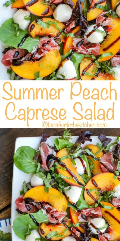 Make the most of the summer's peaches with this twist on a caprese salad! get the recipe at barefeetinthekitchen.com