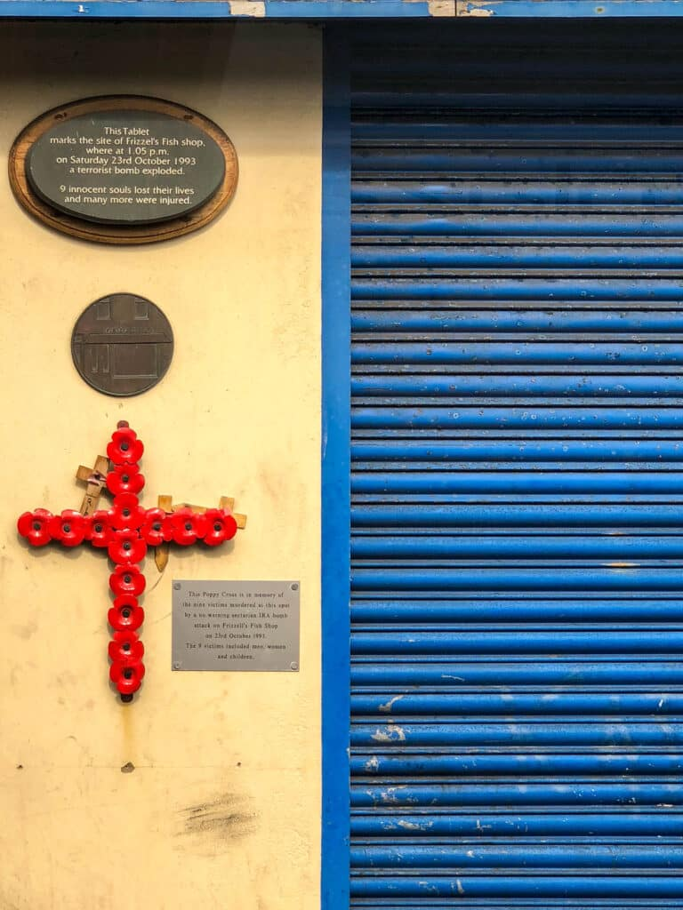 Belfast memorial at the site of Frizzel's Fish shop where a terrorist bomb exploded in 1993. - read more at barefeetinthekitchen.com
