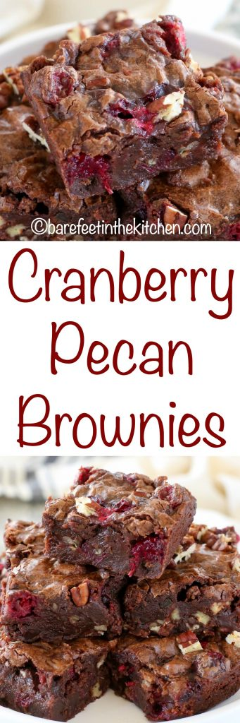 Cranberry Pecan Brownies are a tart, sweet, crunchy treat that no one can resist! get the recipe at barefeetinthekitchen.com