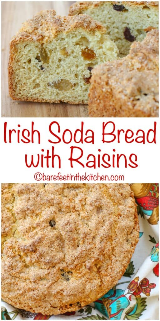 Irish Soda Bread with Raisins - get the recipe at barefeetinthekitchen.com