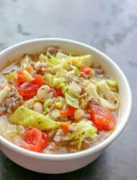 Italian White Bean, Cabbage, and Sausage Soup is a fall favorite!