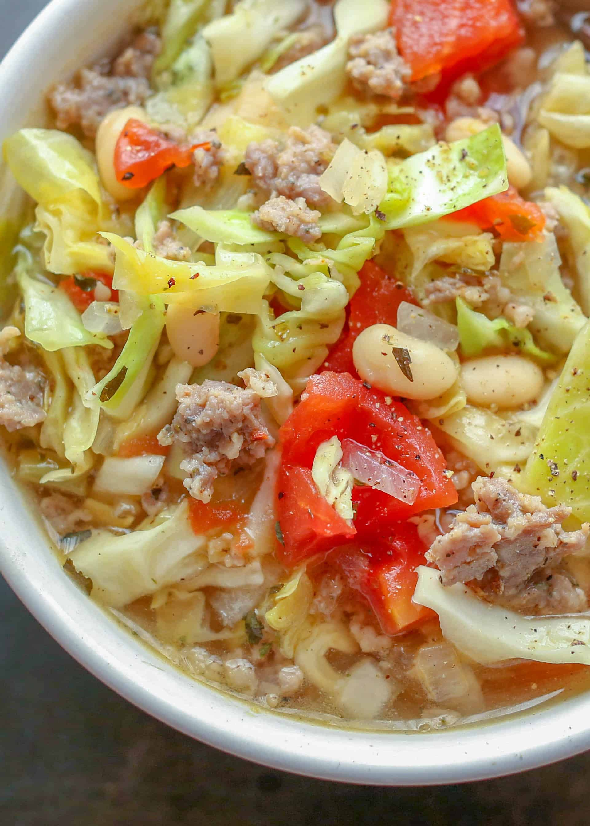 Italian White Bean Cabbage And Sausage Soup Barefeet In The Kitchen